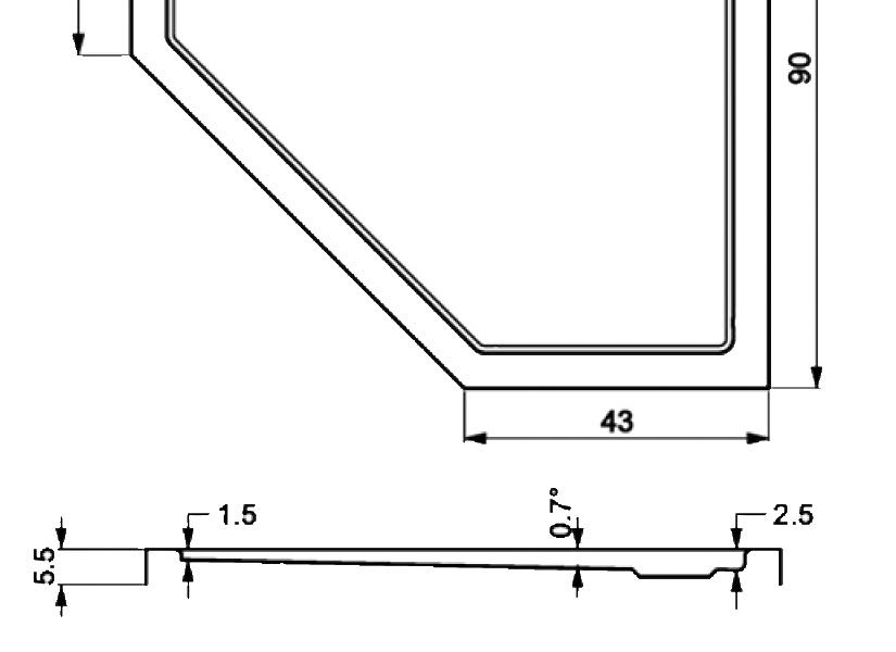 404-extarflat pentagonal showertrays-a